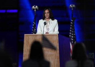 Vice President-elect Kamala Harris delivered her victory speech on Saturday in Wilmington, Del.