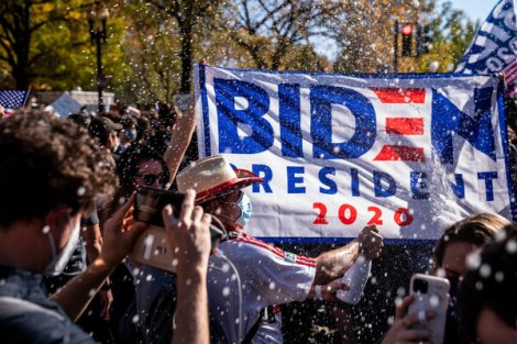 Champagne bottles were popped outside the White House after Joseph R. Biden Jr.'s victory was announced.