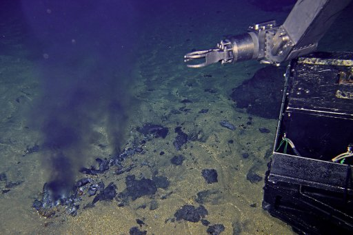 Hydrothermal vents at the bottom of the Suiyo Seamount southeast of Japan.