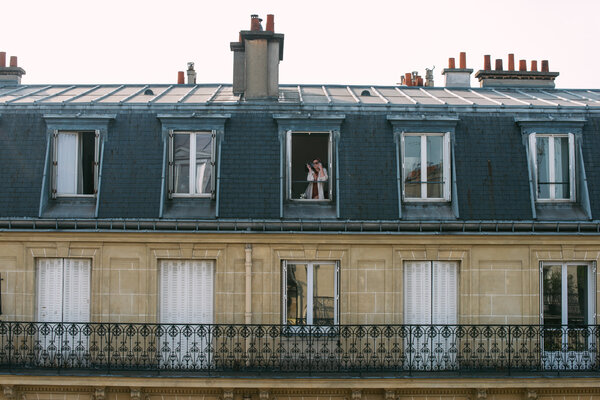 Déborah Lefèvre taking in Paris from her window during the lockdown in April.