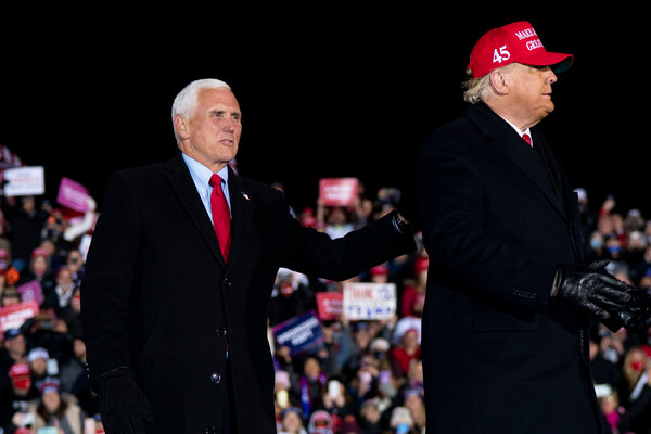 Vice President Mike Pence accompanied President Trump at a rally in Michigan the night before the election.