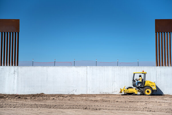 A section of wall between McAllen, Texas, and Mexico under construction last month. The border wall was one of Mr. Trump's most prominent campaign promises.