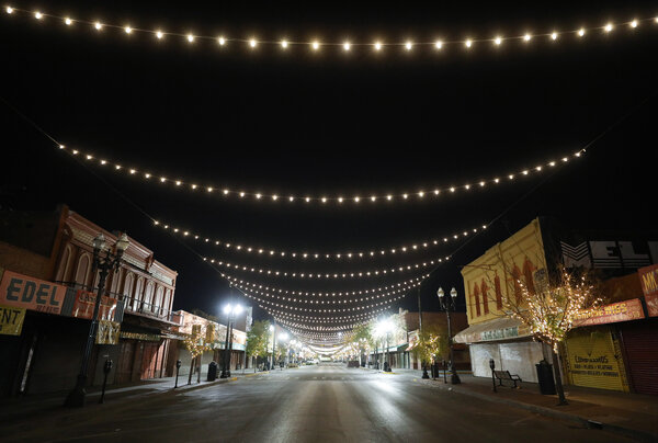 An empty commercial street in El Paso, Texas, on Thursday. The rules that closed businesses were overturned on appeal late Friday.