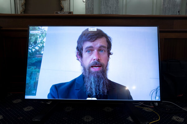 Jack Dorsey, chief executive of Twitter, testifying remotely last month.