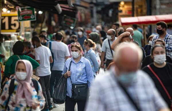 Shoppers in Istanbul last month. Turkey has been dealing with double-digit inflation and a sinking currency.