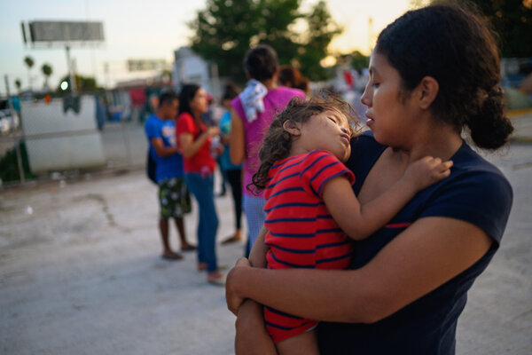 Gabriela Maria Hernandez Mendez, 25, held her 2-year old daughter, Gabriela Quiroz Hernandez, as she waited in Matamoros in 2019 for her next court date to apply to live in the United States. She was six months pregnant.