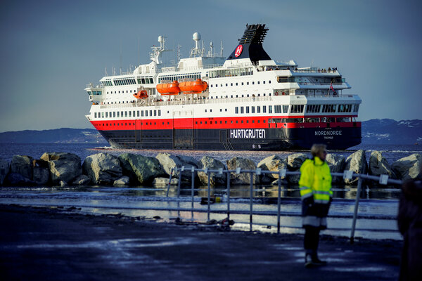 Hurtigruten's Nordnorge ship in Trondheim, Norway, last February. The cruise line is booking trips into 2022 at deep discounts.