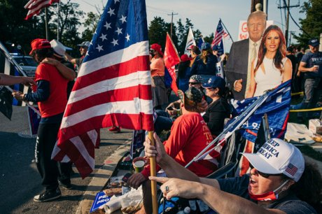 Supporters of President Trump gathered outside the Walter Reed National Military Medical Center while he was being treated for Covid-19.