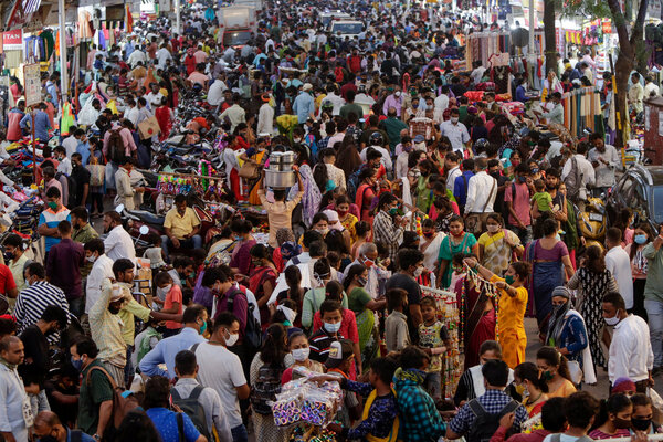 A crowded market in Mumbai, India, before the Hindu festival of Diwali this month.