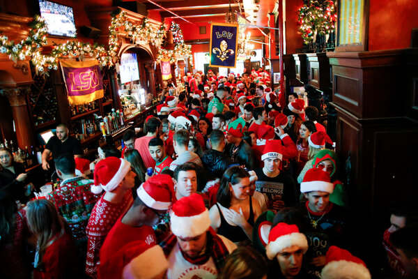 A bar crowded with SantaCon revelers last year.