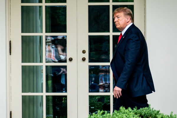 President Trump returning to the Oval Office after announcing the United States would leave the W.H.O. at a news conference on May 29.