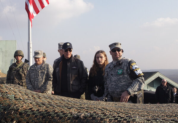 Then-Vice President Joseph R. Biden Jr. and his granddaughter Finnegan Biden in 2013 at the Demilitarized Zone that separates the two Koreas.