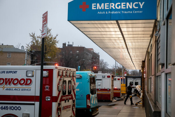 A patient arriving by ambulance at Maimonides Medical Center in Brooklyn on Monday.