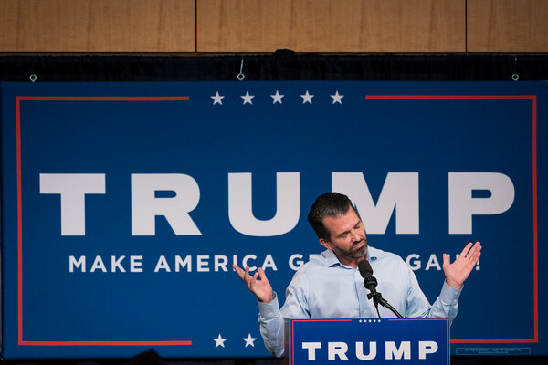 Donald Trump Jr. at a rally in Minnesota in September. President Trump is said to be considering pardons for some of his children and closest associates.