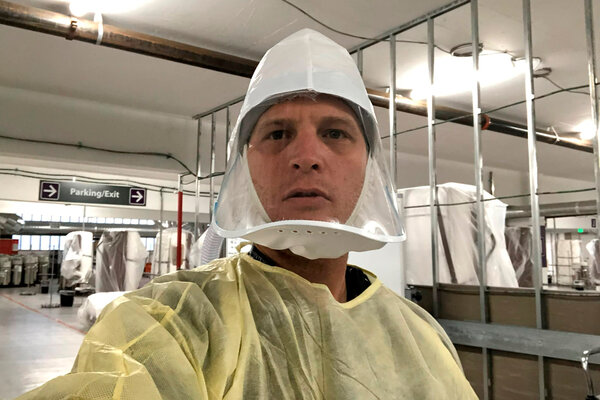 Dr. Jacob Keeperman took a photo of himself in the Renown Medical Center's alternative care site in Reno, Nev., on opening day in November, before the center's first patients arrived.