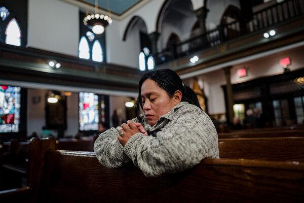 Ms. Peren celebrating mass in Brooklyn.