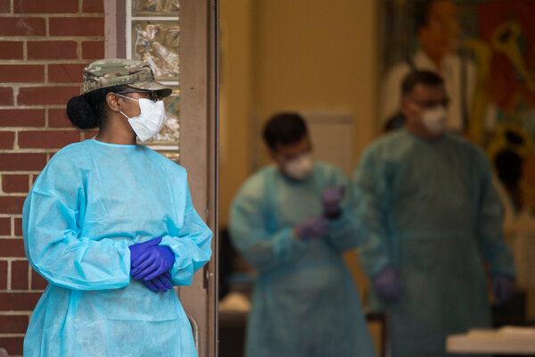 A member of the Tennessee National Guard outside a coronavirus testing center in Chattanooga in May.