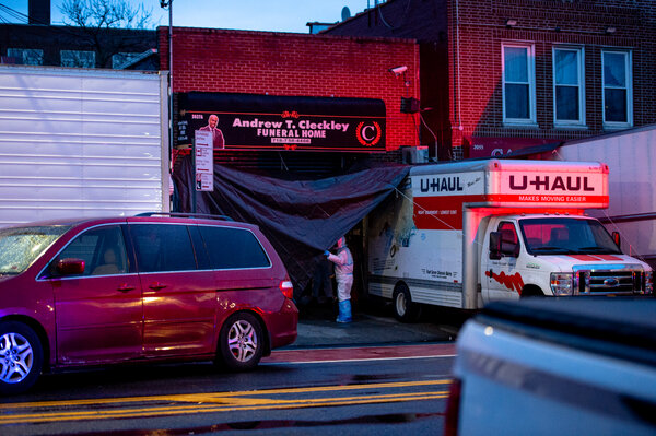 In late April, bodies were stored in rental trucks outside the Andrew T. Cleckley Funeral Home in Brooklyn.