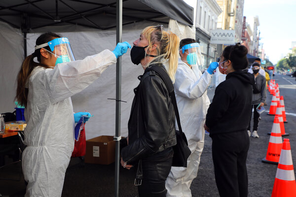 A coronavirus test site in San Francisco on Wednesday.