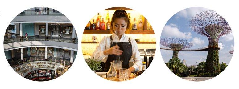 左起:滨海湾金沙购物广场;Symphony Loo的酒吧经理在调制鸡尾酒;滨海湾花园的擎天树。