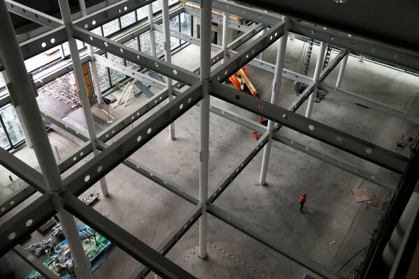 Construction of a building in Visp, Switzerland, where the Moderna vaccine will be produced.