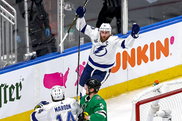 Steven Stamkos scored his first, and only, goal of the Stanley Cup finals for the Tampa Bay Lightning against the Dallas Stars in Game 3 in Edmonton, Alberta, on Sept. 23.