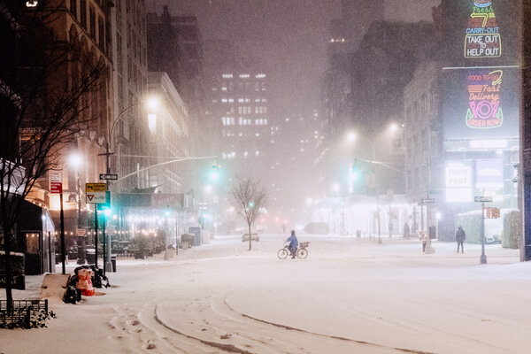 Forecasters predicted up to a foot of accumulation in New York — more than the city received all of last winter.