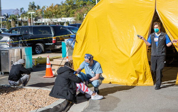 An emergency room triage tent in Colton, Calif., on Friday.