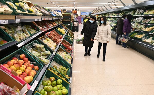 A supermarket in London earlier this month. Britain relies on the European Union for about a quarter of its food, mainly fresh fruit and vegetables.