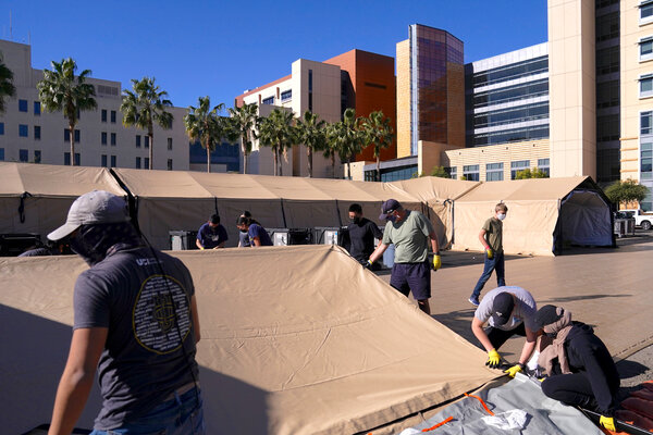 A mobile field hospital was set up at UCI Medical Center in Orange, Calif on Monday.