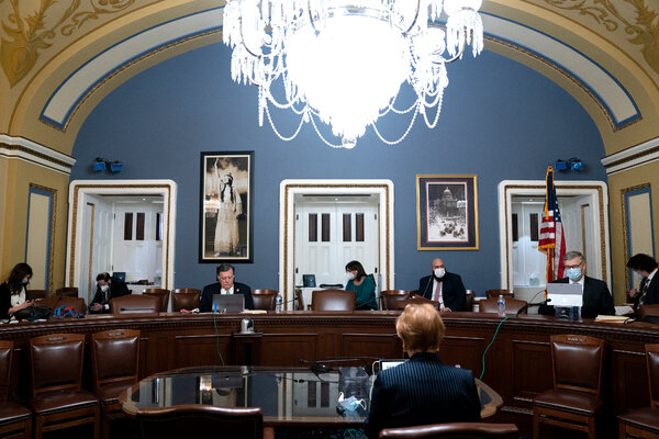 The House Rules Committee members met via video conference to review and debate the relief package, on Monday.