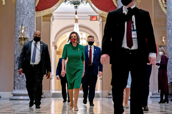 Speaker Nancy Pelosi in the Capitol on Monday. After months of gridlock and debate, the House and Senate approved the spending measures on Monday night.