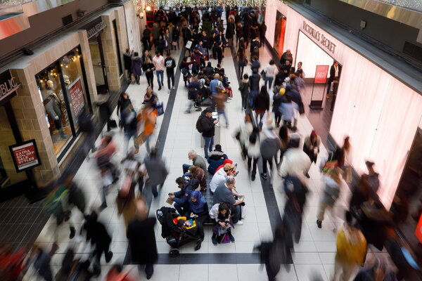 Shoppers at Toronto Eaton Centre during Boxing Day last year.