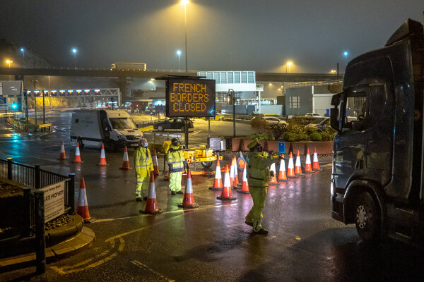 The closed port at Dover on Monday evening.