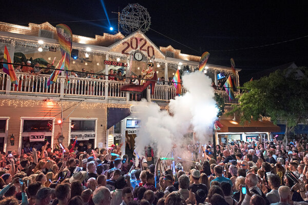 Revelers outside the Bourbon St. Pub in Key West, Fla., watched as the drag queen Sushi was dramatically lowered last New Year's Eve.