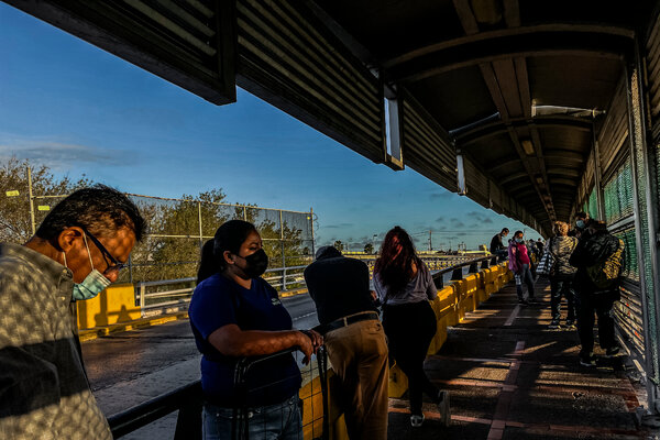 People waiting to cross the International Bridge between Matamoros, a city in Tamaulipas, Mexico, and Brownsville, Texas, last month.