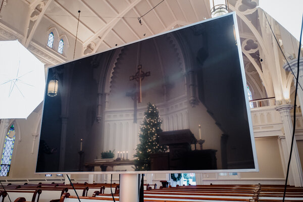 A Presbyterian Church in Bedford, N.Y., set up for virtual services.