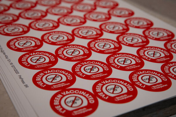 Stickers awaiting distribution as one New York hospital prepared to vaccinate its workers.