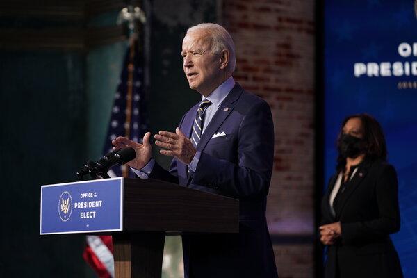 President-elect Joseph R. Biden Jr. speaking in Wilmington, Del., on Monday.