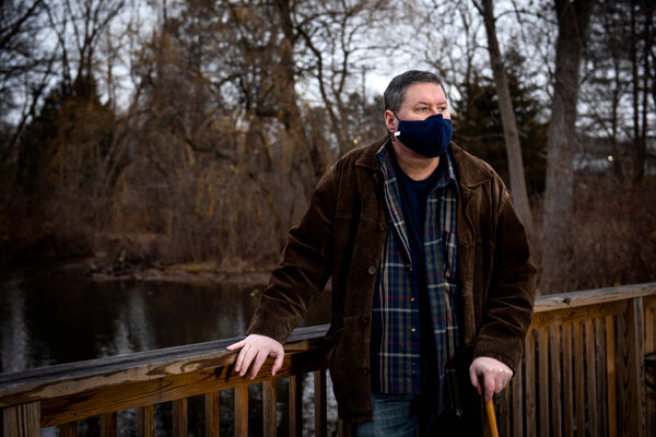 Chris Long of Clarkston, Mich., has been in the hospital seven times since contracting the coronavirus.