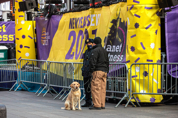 Preparing for New Year's Eve in Times Square in New York on Wednesday.