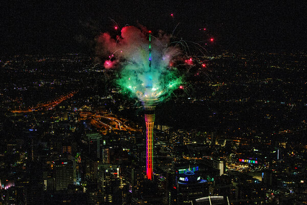 Fireworks from the SkyTower during New Year's Eve celebrations in Auckland, New Zealand.