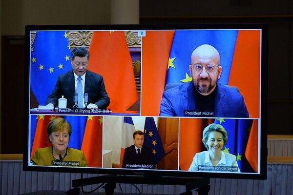 Mr. Xi's video appearance Wednesday with European leaders to approve the investment deal. The agreement amounted to a rebuke of American efforts to isolate China.