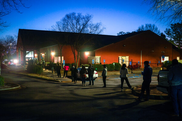 Voters in Atlanta waiting for East Cobb Government Service Center to open on Tuesday.