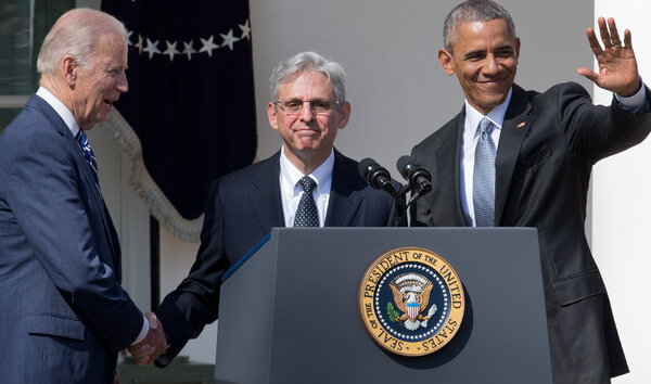 Merrick Garland, center, in 2016, when President Barack Obama nominated him to the Supreme Court.