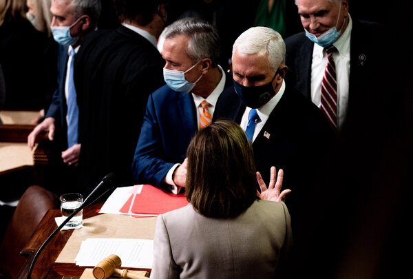 Vice President Mike Pence after a Joint Session of Congress certified the electoral college votes for 2020 Presidential Election on Wednesday. Mr. Pence opposed calls to invoke the 25th Amendment.