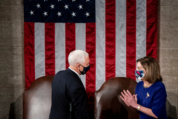 Speaker Nancy Pelosi called on Vice President Mike Pence to invoke the 25th Amendment.