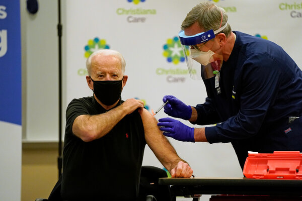 The second dose of coronavirus vaccine was given to President-elect Joseph R. Biden Jr. three weeks after the first.