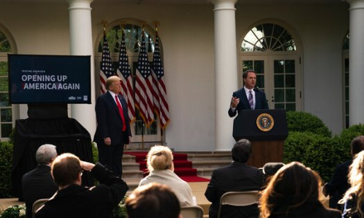 Doug McMillon, the chief executive of Walmart, at a White House event in April. Walmart said it would pause political contributions to the Republicans who voted against certifying the results of the presidential election.