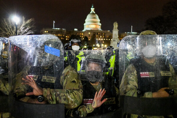 National Guard troops at the Capitol after it was overtaken by a mob of Trump supporters on Jan. 6. Their deployment was not approved for hours after the riot began.
